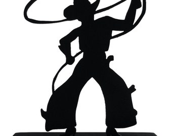Bowlegged Cowboy with Lasso Handmade Wood Display Silhouette Decoration  swst009