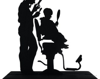Boy and Barber First Haircut Handmade Display Silhouette Decoration - SCLD006