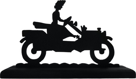 Woman Driving Antique Touring Car Handmade Wood Display Silhouette Decoration  stra004