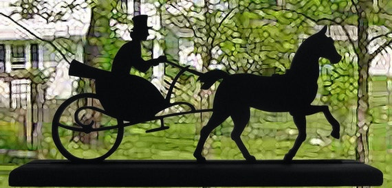 Driver, Horse and Formal Carriage Handmade Wood Display Silhouette Decoration  strh003