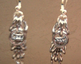 Chainmaille Earrings - 2 inches long.   Aluminum 16 gauge jump rings Tarnish Free