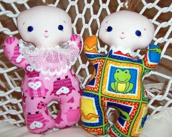 Butterbean Baby Doll - Boy or Girl with Blue Eyes Handmade Fabric Dolls