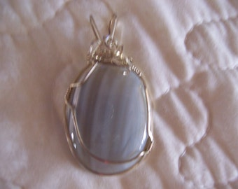 Blue Lace Agate Cabochon Sterling Silver Wire Wrapped Pendant