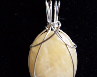 Yellow Agate Cabochon Pendant in Sterling Silver Wire Wrapped