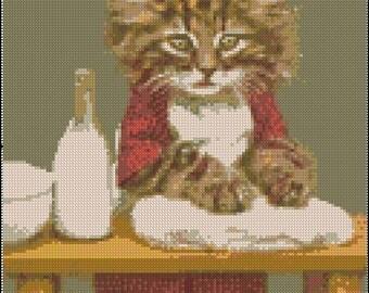 Vintage BAKER KITTY cross stitch pattern No.126