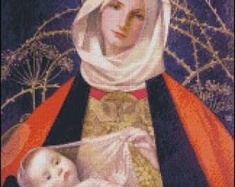MADONNA  AND CHILD cross stitch pattern No.653