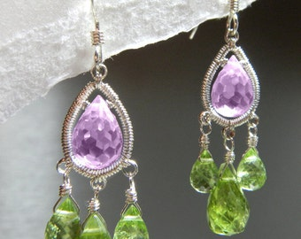 Wire Wrapped Earring - Spring Lavender (Peridot, Cubic Zirconia, Sterling Silver)  E-0126