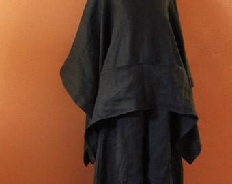 custom heavy linen swallow poncho coat with big pockets / linen poncho / free size / plus size fit