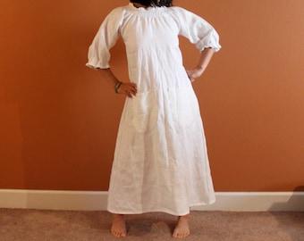 custom fit shirred neckline sleeve end linen dress / relaxed linen dress / linen maxi dress / plus size / petite / handmade linen dress