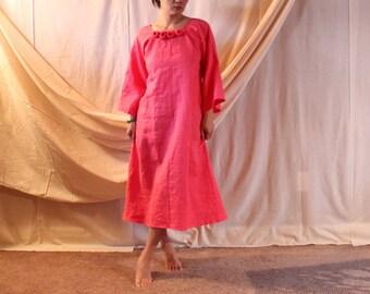 handmade to measure  linen roses neckline A line dress