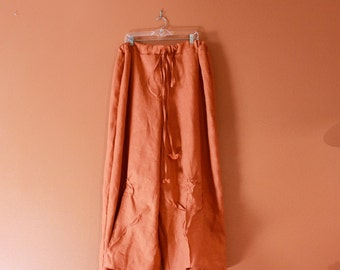 custom drawstring  linen rose tucks wide leg pants plus size welcome