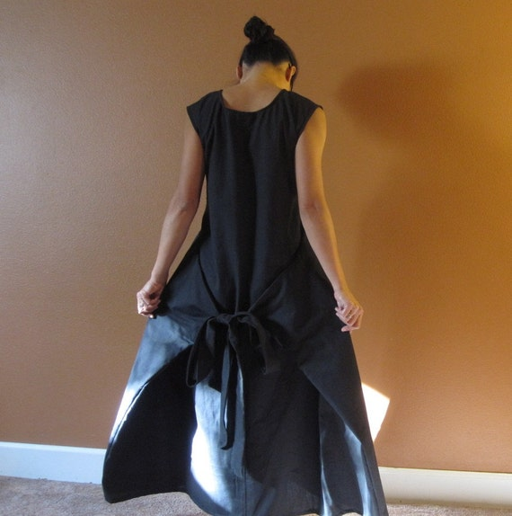 Reserved for Doris only black cotton Flutter dress with two pockets