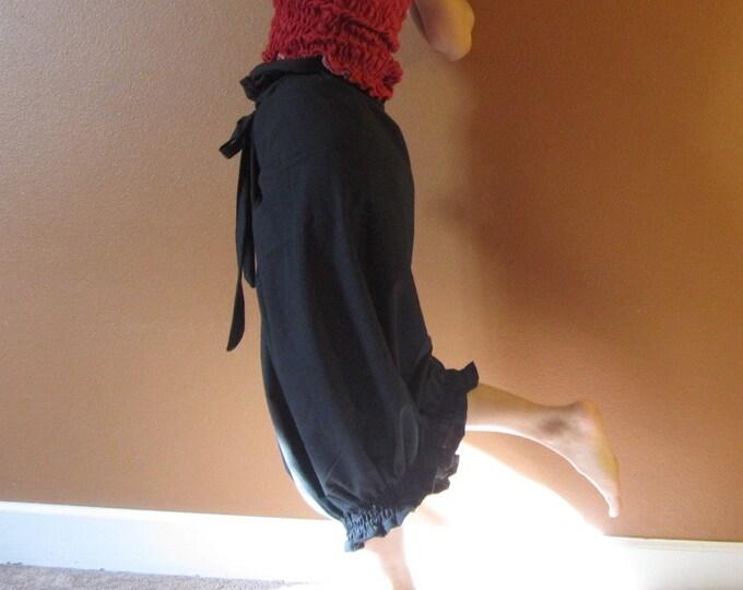 ruffle gopher wrap pants romper multi wear custom order / linen wrap style / funky wear / cotton wrap / meditation pants