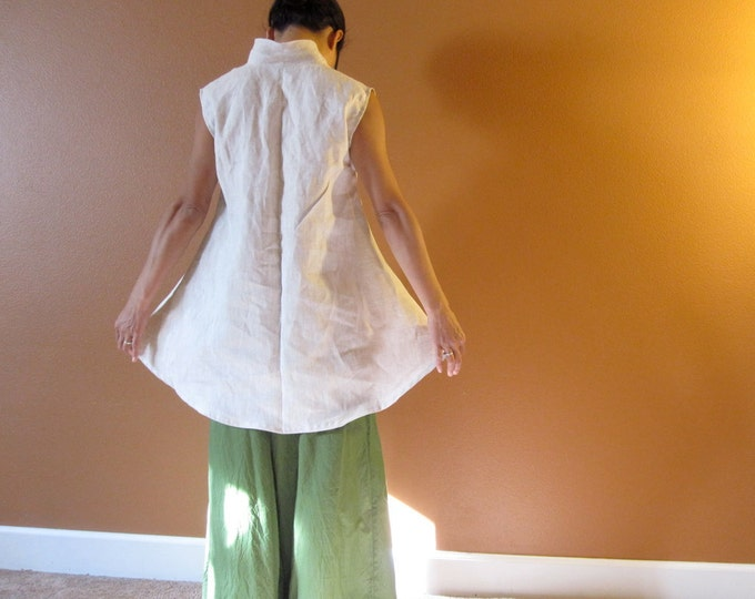 Pure linen simplicity wavy top  custom order listing / made to order for all sizes / petite / plus size / linen top / sleeveless