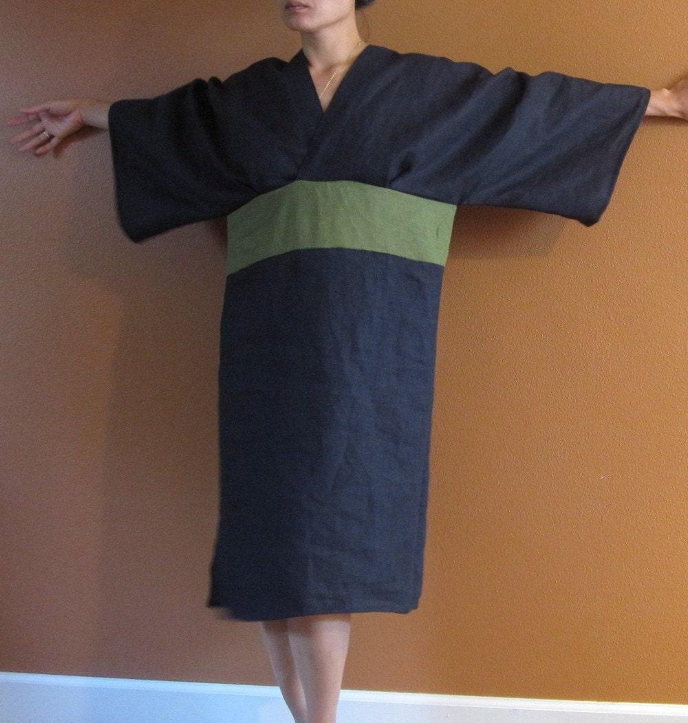 Pure linen origami dress kimono sleeves custom order listing jeuxipadfo Gallery