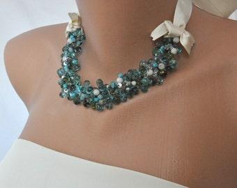 2017 Fashion Color Green Crystal Choker,  Handmade  Weddings Necklace