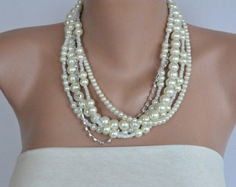 Bridal Jewelry ,Summer Wedding Bridal Glass Pearl Necklace brides bridesmaids