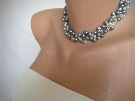 elegant silver bib Weddings Pearl Necklace Bridsmaids Gifts