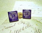 Repurposed Real 3 Cent Statue of Liberty U S Postage Stamp Cuff Links