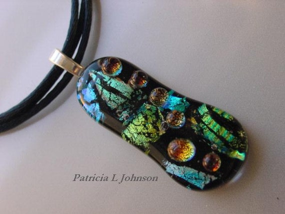 Handcrafted Jewelry Fused Dichroic Glass Pendant. Abstract Teal Green Gold. FP-01