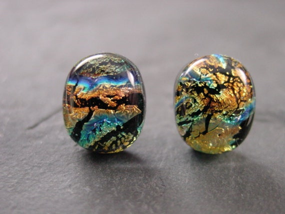Fused Dichroic Glass Post Earrings 43 Gold Ripple Texture  14mm x 11mm