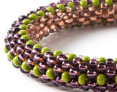 purple, copper lined and olive green stripes bead crochet bangle FREE SHIPPING