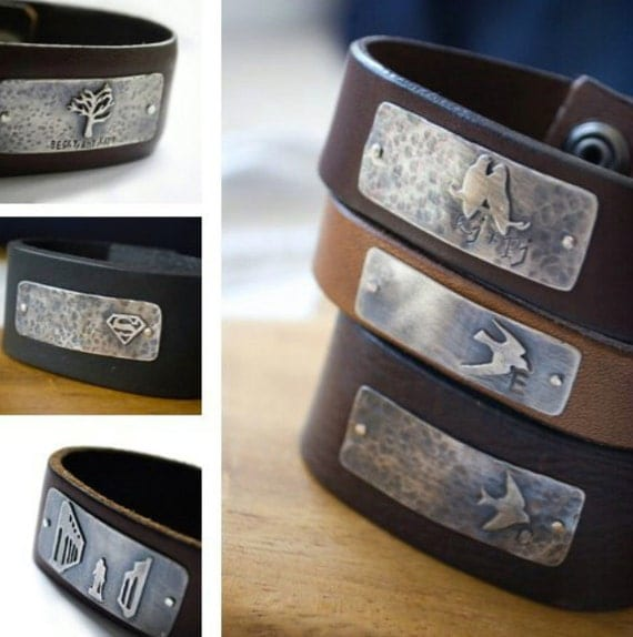 customizable cuff: personalize sterling silver plate w/quote and symbol & your choice of leather (custom order - made to order) - bracelet