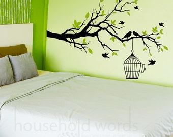 Self Adhesive Vinyl Wall Decal Tree Branch with flying birds, Vinyl Decals, Master Bedroom decor, Guest room Decal, Window decals, bird Art