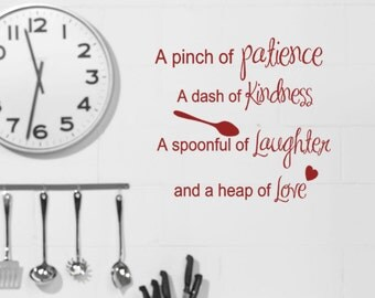 Kitchen Wall Decals Recipe Quote Pinch Of Patience Dash Kindness Spoonful Laughter Heap