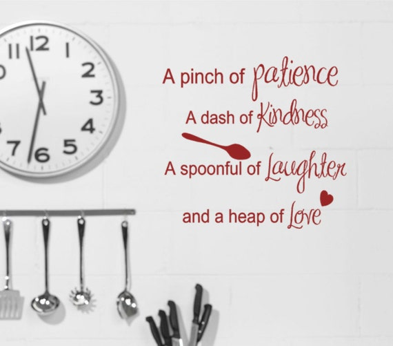 Kitchen Wall Decor Quotes: Kitchen Wall Decals Recipe Quote Pinch Of Patience Dash Of