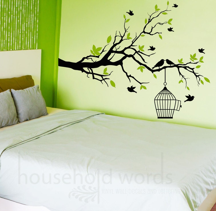 Self Adhesive Vinyl Wall Decal Tree Branch with flying birds