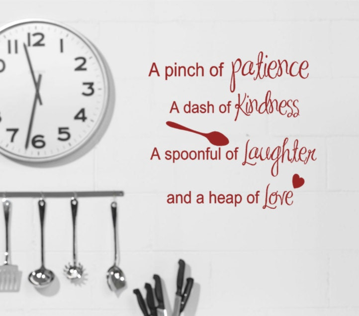 Kitchen Wall Decals Recipe Quote Pinch Of Patience Dash Of