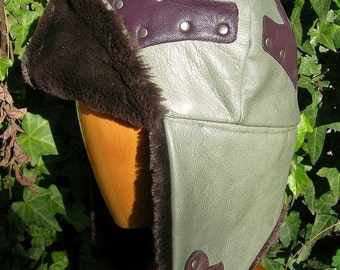 Green Leather Mjollnir Pointy Hat MongolMation Mongol Hat with Furry Earflaps