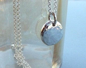 Sterling silver disc necklace - delicate silver necklace - dainty silver necklace - sterling silver jewelry - simple silver necklace