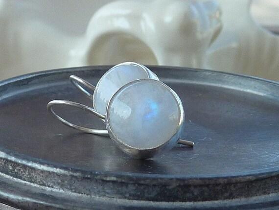 Rainbow moonstone earrings Sterling silver dangle earrings Round rainbow moonstone gemstones