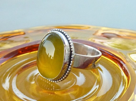 Australian yellow Opalite ring - Gemstone ring - Sterling silver ring RESERVED FOR KIM