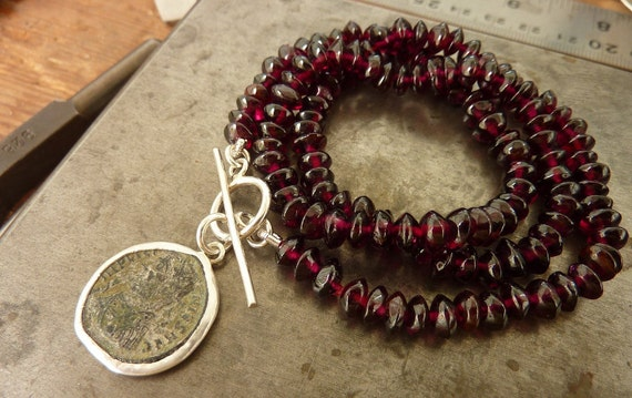 Red Garnet necklace with an antique Roman coin pendant