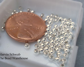 Sterling Silver Beads 2.5mm Round Heavy Wall 100 pc