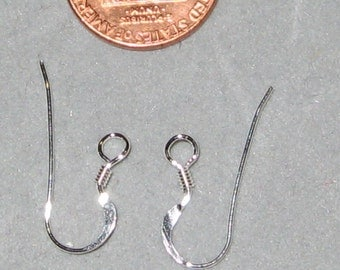 Sterling Silver Ear Wires Shepard Hook French Flat w/ coil 10 pc Made in the USA