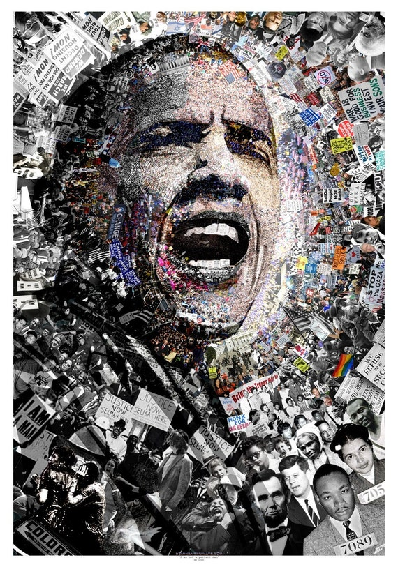 """Title: """"I Am Not A Perfect Man"""", 27x39 Inch Obama poster. Signed offset lithograph by artist O"""