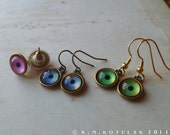 Eye Earrings -- Custom Iris Designs in Brass
