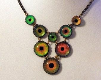 Wildfire -- Handmade Brass Eye Necklace