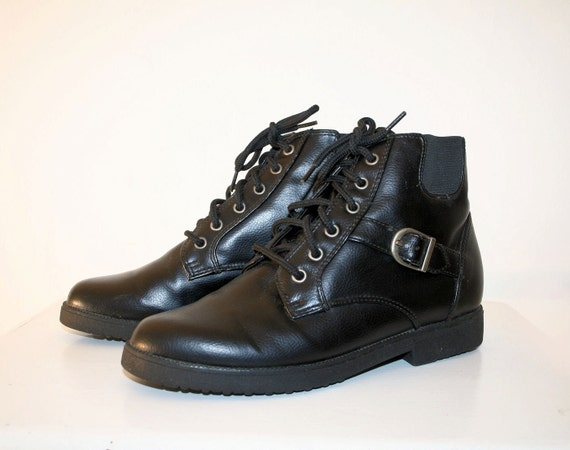 80's Dawson Creek Black Lace Up Ankle Boots Buckle Straps 7.5