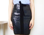 STARLIGHT - stretch sequin skirt with small velvet bow