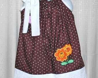 Flower  Appliqued  Pillowcase Dress - Ready to Ship Size 4T