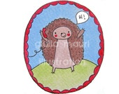 Just To Say Card - Recycled Paper - Eco Friendly - Hedgehog, Woodland creature, Illustration by Giulia Mauri