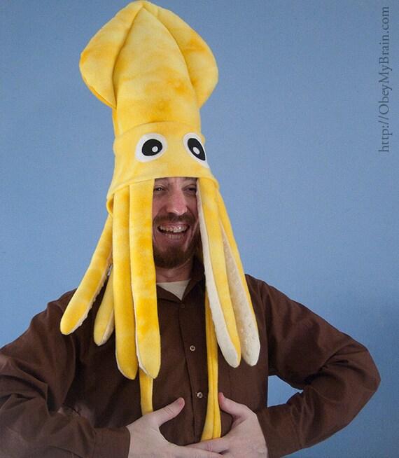 Large Fleece Squid Hat - Yellow Tie-Dye