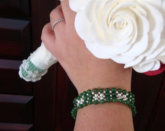 Happily Jaded - Jade & Sterling Silver Flower Wave Weave Cuff Bracelet - Handmade by DORANA