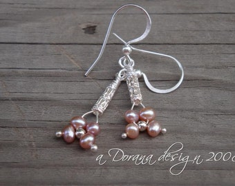 Forget Paris Collection - myBouquet Beaded Floral Design - Pink Pearl and Sterling Silver Earrings - Handmade by DORANA