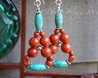 INDIAN SUMMER Flower Weave Chandelier Earrings- Genuine Turquoise, Red Jasper and Bali Sterling Silver - Handmade by Dorana